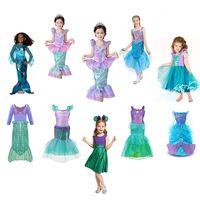 10 estilos niñas pequeña sirena princesa vestido cosplay disfraces para niños bebé niña sirena vestido niños ropa de halloween 1 unids Enviar