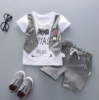 2020 весна и осень стиль детская одежда детская одежда комплекты мальчик хлопок с коротким рукавом 2 шт. Костюм мальчика хлопка детская одежда дизайнер ткани