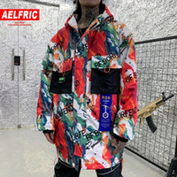 AELFRIC Hip Hop Hand- painted Printed Hooded Mens Parkas 2019...