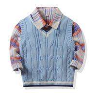 كم خريف شتاء بنين جديدة طويلة كلاسيكي منقوش طية صدر السترة قميص أعلى مع حك الصدرية دافئ طفل بنين عادية القميص ملابس أطفال