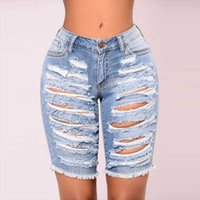 Dames Jeans Denim Shorts Ripped Low Taille Women Summer Plus Size Gat Cut Out Knielengte Vrouwelijke Stretchy Korte Broek