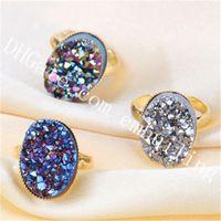 10st blå / guld / regnbåge / champagne / silver druzy ring mystic titan belagd rå druzy geode kristall kluster sten justerbar uttalande ring
