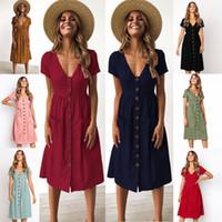 여성의 V 넥 버튼 다운 미디 드레스는 여름 짧은 소매 코튼 캐주얼 드레스 섹시한 캐주얼 A-라인 비치 sundress에 주머니