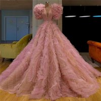 Vintage Puffy Pink Prom Dresses with Crystals V Neck Tulle T...