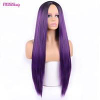 Longue ligne droite perruque noire perruques synthétiques pour femmes naturelle Moyen partie perruque de dentelle résistant à la chaleur fibre aspect naturel