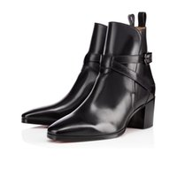 Erkekler Kare Ayak Yüksek Kalite Tasarımcı Kadınlar Dinlence Eğitmenler Ayakkabı patik İçin Sıcak Satış Sonbahar / Kış Düz Kırmızı Alt Bilek Boots