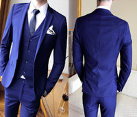 Nuovi arrivi personalizzati One Buttons Royal Blue Smoking dello sposo Peak Risvolto Groomsmen Best Man Tute da uomo Mens Wedding (Jacket + Pants + Vest + Tie)