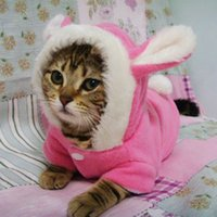 Cute Cat Clothes Winter Warm Fleece Clothes For Cats Pet Hoo...