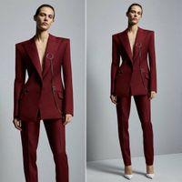 Vinho Tinto 2020 Mother Of The Bride Suits Pant as mulheres de negócio Trabalho Uniforme Formal Outfit para casamentos smoking Blazer (Jacket + calça)