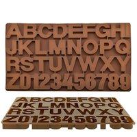 Alphabet-Silikon-Form Abbildung Letters Schokoladen-Form-3D-Kuchen, die Werkzeuge Tray Fondant-Formen Gelee-Plätzchen-Backen-Form