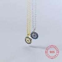 925 delle donne d'argento Cubic Zirconia diavolo male blue eye Pendant delicata piccoli charms collana collana dell'occhio diabolico 925