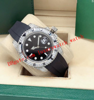 2 estilo GM / T II 18K ouro branco diamante completo 40mm pulseira de borracha 116759 Dial Preto Moda automática relógios de relógio de relógio de pulso