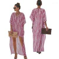 السيدات الملونة فضفاض الطباعة بذلة قطعة واحدة الملابس batwing كم المرأة فساتين مصمم مثير شاطئ اللباس