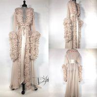 Шелковые шифоновые халаты Пижамы V-образным вырезом с длинным рукавом Халаты женские роскошные халаты Housecoat Nightwear Lounge Wear