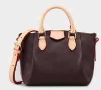 Kahverengi mono gerçek deri kadın omuz çantaları 31 cm 40 cm 45 cm 3 boyutu bayan kılıf TURENNE Çanta M48815 seri numarası ile ...
