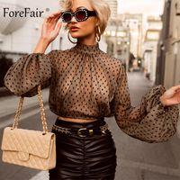 Forefair Dantel Polka Dot Kadınlar Bluz Siyah Turtleneck Uzun Kollu Kırpılmış Mesh Üst Streetwear Clubwear Şeffaf Seksi Mahsul Üst