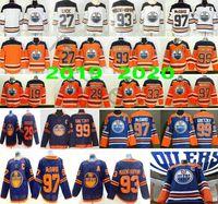 2020 Nuevo Tercer EDMONTON Oilers # 29 Leon Draisaitl 93 Ryan Nugent-Hopkins 99 Wayne Gretzky 97 McDavid Man Mujer Niños Hielo Hockey Jerseys