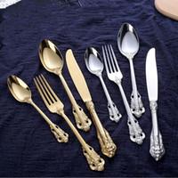Retro talheres set prata e aço inoxidável ouro talheres colher faca garfo 4 peças conjuntos jogo de jantar utensílios de mesa de alta qualidade LXL899Q