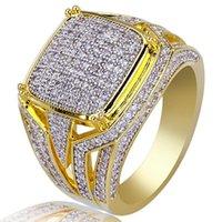 Hip euro americano retro y Hip anillo micro-incrustaciones de joyas anillo de oro de hielo fuera de Oro Zircon plateado de los hombres