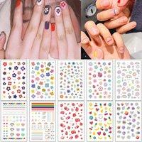 Flower Nail Art Sticker sveglio della fragola Avocado design Bella Sticker arcobaleno colorato Strumento Manicure per Sticker donna ragazza Piccolo chiodo capovolge