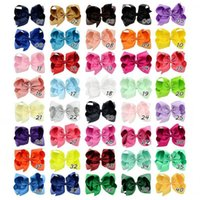 40 Colors 6 Inches Girls Kids Ribbon Bows Hairpin Clips Gros...