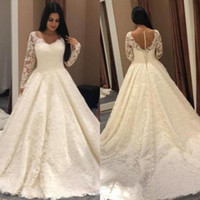 Abiti da sposa vintage in pizzo a maniche lunghe Completi appliques Tulle A Line Abiti da sposa Sweep Train Sheer Neck Wedding Dress