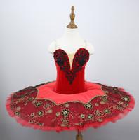 Yetişkin Kadınlar Siyah Kırmızı Profesyonel Bale Tutu Kostüm Kitri Don Quixote Bale Tutuş Etek Klasik Balerin Sahne Kostüm
