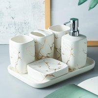 Marble Frosted Ouro Cerâmica Banho Acessórios Set sabonete Líquido / escova de dentes titular / Tumbler / saboneteira do banheiro Suprimentos Bandeja
