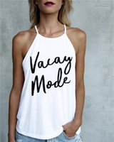 Modo de impresión verano de las señoras Top Bellas Condole del color del caramelo flojo verano de las mujeres camisetas Carta Vacay