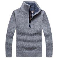 Мужские свитера 2021 толстые теплые вязаные пуловеры осень сплошной с длинным рукавом водолазка наполовину Zip Flece зимнее удобное пальто мужчины