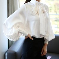 Ladies Vintage Satin shirt women Lantern Sleeve Shirts Bow T...