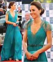 2020 V Jenny Packham Sexy cuello mangas casquillo de los vestidos de noche formal del botón Volver Sheer gasa del cordón de Kate Middleton Vestidos de la celebridad