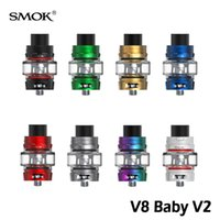 Smok TFV8 Baby V2 Tanque 5 ml Sub Ohm Atomizador 510 Rosca Edição De Vidro Do Bulbo Com A1 A2 Bobinas - Max Mesh 100% Autêntico