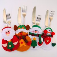 Cartoon Babbo Natale posate Bag 3 disegni Posate Storage Bag Christmas Dinner Fork Knife Christmas Bag 10 Pezzi ePacket