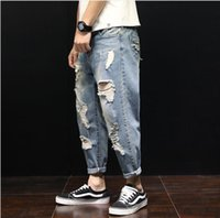 ss Summer designer new jeans mens pants Harlan hole jean loo...