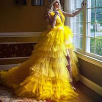 Mode jaune haut bas bas fendue robes de bal de bal à col v profonds vrillés à ébullition volume Tier tulle jupe pageant robe de balayage guiche de soirée de soirée