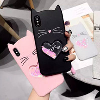 For iphone xs xr phone case Creative quicksand cat mobile ph...
