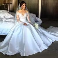 Steven Khalil High Side Split Spitze Meerjungfrau Brautkleider mit abnehmbarer über Röcke Langarm Illusion Mieder Kapelle Brautkleider 2020