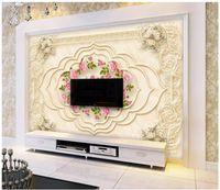 foto de fondo de pantalla 3D murales de encargo del papel pintado 3D patrón en relieve Europea aumentó papeles de la pared del arte de la joyería de TV de fondo para la decoración de paredes en casa
