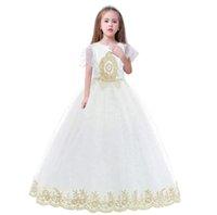 Ładna biała / złota aplikacja koronki dziewczyny sukienki kwiatu dziewczynka sukienki księżniczka imprez sukienki dziecko spódnica zwyczaj wykonane 2-14 H313260