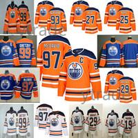 Maillot de hockey des Oilers d'Edmonton 2019 99 Wayne Gretzky 97 Connor McDavid 29 Leon Draisaitl 27 Milan Lucic Maillot de hockey Ryan Nugent-Hopkins 93