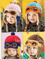 4 ألوان ألبسة للأطفال الرضع كول بيبي بوي فتاة الاطفال في فصل الشتاء الطيار الطيار الدافئة كاب قبعة قبعة صغيرة الأذن رفرف لينة هات K116