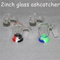 ACCESSORI FUMATORE ACCESSORI IN GLASS GLASS ASH Catcaher Handmake a mano con un chiodo al quarzo da 4 mm Banger e 5 / 7ml contenitori in silicone per DAB RIG BONG