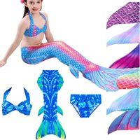 3 قطع مجموعة الأطفال طفل أطفال السباحة فيفي mermaid الذيل زعانف زي تأثيري الزي ملابس للبنات حورية البحر ذيول السباحة (لا monofin)