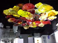 سقف الحديثة زهرة الثريا الكبيرة الحجم فلوش الخيالة سقف مصباح LED زجاج مورانو الثريا مصباح الرئيسية داخلي فندق الضوء