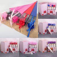 Sevgililer Günü Düğün WX9-1771 için plastik kutu ambalaj Kurdele Romantik Sabun Çiçek ile 12pcs / lot Yapay Çiçekler Sabun Gül