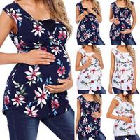 الأمومة الأزهار المطبوعة سترة النساء الحوامل التمريض طفل t-shirt أكمام القمم الرضاعة سترة فضفاضة المرضعات خزانات الملابس زائد الحجم