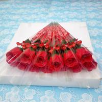 واحد الجذعية الصابون الزهور الاصطناعية وردة معطرة حمام الصابون لحفل الزفاف عيد الحب عيد الأم المعلم يوم هدية ديكور GGA3182-3
