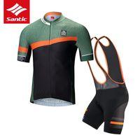 Bisiklet Forması Setleri SANTIC SET Kısa Kollu Erkekler Bisiklet Bisiklet Pro Takım Tour de France Skinsuit Yaz Döngüsü Giysileri
