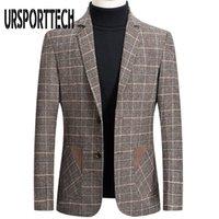 URSPORTTECH высокого качества Марка Mens Blazer куртка Мужские костюмы способа куртки плед печати Slim Fit Теплый Blazer пальто Мужской Plus Размер